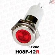 چراغ سیگنال قطر8 LED وضوح بالا 12ولتDC قرمز H08F-12R