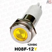 چراغ سیگنال قطر8 LED وضوح بالا 12ولتDC زرد H08F-12Y